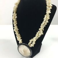 Mother of Pearl Double Strand Necklace Bead Chips Pendant Medallion MOP Inlay