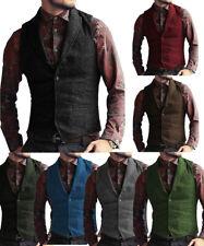 Black Mens Tweed Waistcoats Herringbone V-Neck Wool Vest Vintage Notch Lapel 3XL