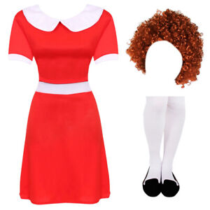 LADIES LITTLE ORPHAN FANCY DRESS COSTUME WORLD BOOK DAY FILM MUSICAL CHARACTER