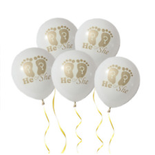 10X White He or She Latex Inflatable Balloons Baby Showers Birthday Party Decor