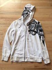 GUESS White Graphic Zip Up Long Sleeve Hoodie-Medium