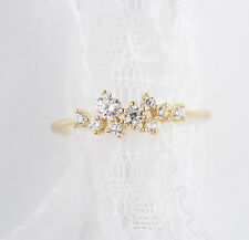 7# high quality delicate zircon Bouquet flower silver ring plated 14K gold