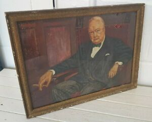 Vintage original Winston Churchill oil on board in 43 x 32 cm frame. I8P232