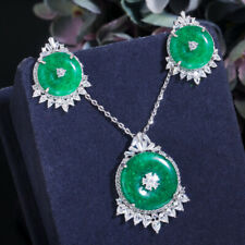 Emerald Green Round CZ Dangle Pendent Necklace Earring Bridal Ethnic Jewelry Set