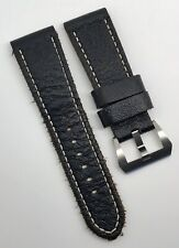 Authentic Officine Panerai 26mm x 22mm Black Vintage Calf Leather Strap Band OEM
