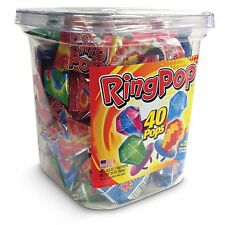 X40 Ring Pop Lollipops - Hard Candy Pops, Variety Pack