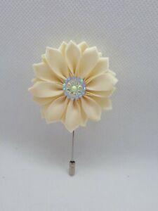 Mens Ivory Flower Blazer Lapel Pin Flower Boutonniere Wedding Prom UK