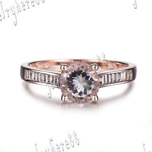 Round 6.5mm Morganite Natural SI/H Diamonds Gemstone Ring Setting 18k Rose Gold