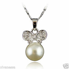 18k white Gold GF with Swarovski crystals pearl solid pendant necklace