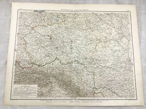 1899 Antique Map of Western Russia Old Original 19th Century GERMAN
