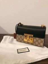 Authentic Gucci Padlock Small GG Supreme Shoulder Bag Purse Beige Style 409487