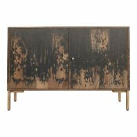 "48"" L Henry 2 Door Sideboard Distressed Solid Mango Wood Iron Base Rustic"