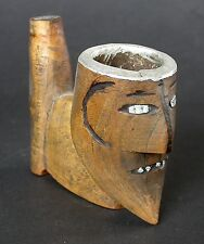 UNUSUAL EARLY AFRICAN PIPE HEAD BOOT KICKING A HEAD ALUMINUM INLAY C1930