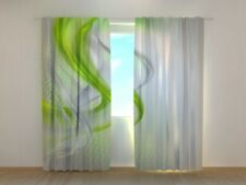 3D Luxe Curtain Printed with Green Abstraction image Wellmira Made to Measure
