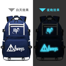 Harry Potter Luminous Backpack Teens USB Charging Schoolbag Travel Shoulder Bag
