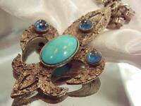 Blue Glass Fleur de lis Silver Tone Long Chain Vintage 60s Necklace 35A0