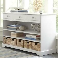 Sideboard with 3 Drawers and 5 Removable Hyacinth Water Baskets White Finish