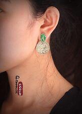 Boucles d`Oreilles Clous Email Vert Rond Ovale Vintage Baroque Ancien Style