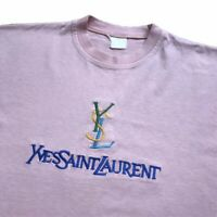 Vintage YSL Pink T Shirt Big Spell Out Logo Embroidered Yves Saint Laurent