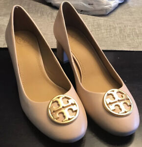 NEW Tory Burch Chelsea 50mm Pump Leather Shoes Goan Sand Size 7.5 No Box