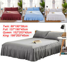 Elastic Bed Skirt Bed Fitted Sheet Cover Bedspread Twin Full Queen King Sizes Us