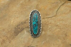 Vintage Rare Lander Blue Turquoise and Silver Ring | Handmade | 1970s