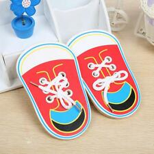 Children Kids Wooden Lacing Shoes Toddler Teaching Tie Shoelaces Toys Xmas Gift