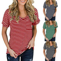 Womens Summer Striped Tunic Tops Casual Soft Blouse Loose T Shirt Plus Size US