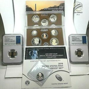 🇺🇸l2019 S US Clad Proof Coin Set & 2019-W Rev  Proof FDOI Lincoln Cent PF70 RD