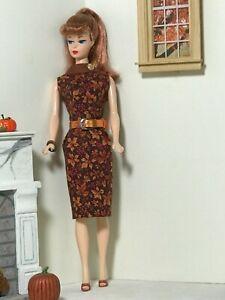 OOAK handmade vintage-inspired autumn dress for the vintage & repro Barbie