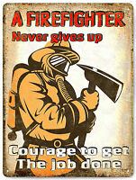 Firefighter Metal Sign hero fireman great gift vintage style wall decor art 640
