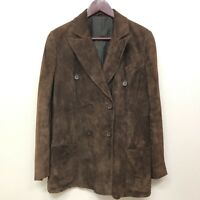VALENTINO Heavy Brown Suede Leather Jacket Size 44 US Size 8 Vintage