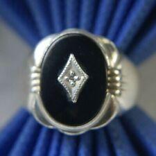Vintage Men's DIAMOND & ONYX 0.925 Sterling Silver Ring size 10