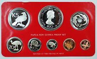1977 Papua New Guinea 8 Coin Proof Set- Sterling Silver- w/Box & COA