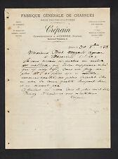 """AUXERRE (89) MATERIEL & MACHINE AGRICOLE / CHARRUES """"CREPAIN Constructeur"""" 1888"""