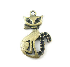 10 ANTIQUE BRONZE KITTY CATS CHARMS/PENDANTS~16mm x 26mm~fit 1mm cabochons (7G)