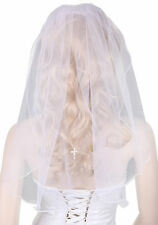 "White Austrian Diamante Cross Veil for Girl's First Holy Communion Dress,23""L"