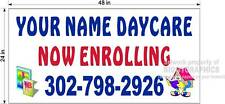 2' x 4' VINYL BANNER NOW ENROLLING DAYCARE DAY CARE