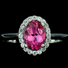 GENUINE OVAL 7x5mm RICH PINK TOPAZ & WHITE TOPAZ STERLING 925 SILVER RING SIZE 8