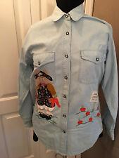 Orig Handmade Wearable Art Bunny Carrot Patch Shirt, Exclusive Design FREE SHIP