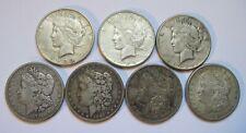 7 Cart Wheels - 3 Peace and 4 Morgan Dollars