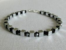 Silver Hematite Cube Beads Sterling Silver Unisex Bracelet With Black Crystals