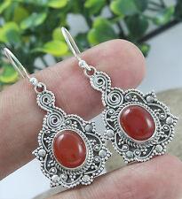 925 Solid Sterling Silver Earrings Carnelian Handmade Earrings Jewelry 04.g