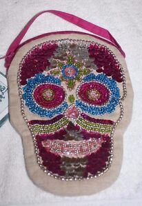 Karma Living Sugar Skull Head Side Sling Bag Dia De Los Muertos New