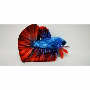 "GreenPleco Kuscheltier Plushie ""Kampffisch"" Betta Blue Aquarium Deko"