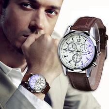 Charm Mens Watch Faux Leather Band Watch Blue Ray Glass Watch Quartz Wrist Watch