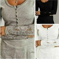 Fashion Women Long Sleeve Shirt Casual Lace Blouse Loose Cotton Tops TShirt