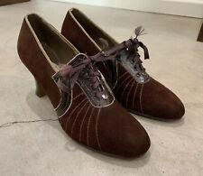 40s Stitched Heels Suede Lace Up Pumps War Time Nurse Swing Secretary Vlv Vtg