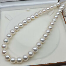 "18"" Gorgeous AAA++ 11-12mm real natural south sea white round pearl necklace 14k"