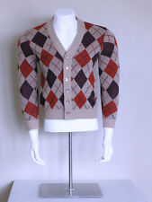 vtg 60s atomic ROCKABILLY greaser psychobilly ARGYLE rat rod sweater cardigan S